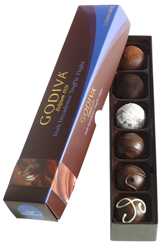 Godiva Dark Decadence Chocolate Truffle Flight 6pcs